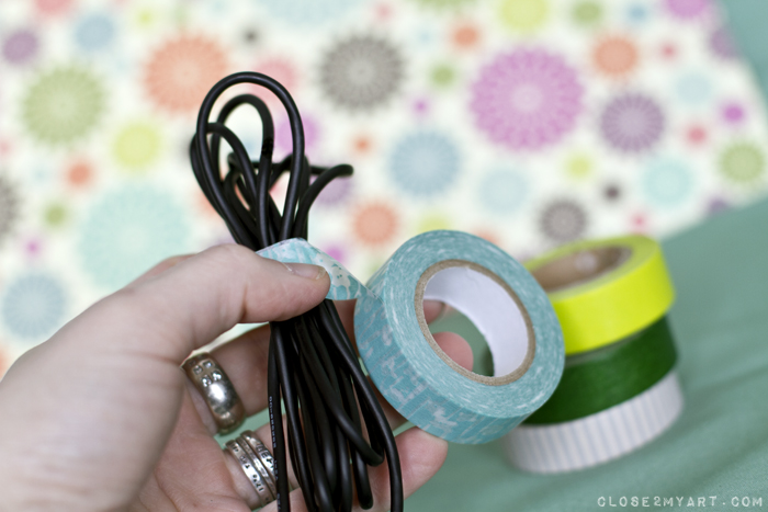 Washi tape cord organization tutorial